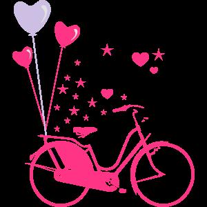 Fahrrad Herz Luftballons Sterne