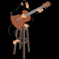 Affe mit Akustikgitarre