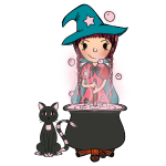 Witch Penelope and cat