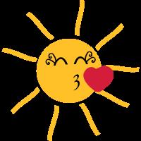 strahlende Sonne mit Kussmund und Herz