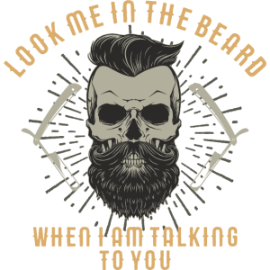 SSD Hipster Skull Look me in the beard - RAHMENLOS Style Design