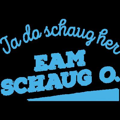 Ja da schaug her (Eam schaug o) - blau - Ja da schaug her, eam schaug o! bedeutet Hochdeutsch in etwa: Ach guck mal, schau dir ihn mal an! Je nach Kontext drückt es verachtend, bewundernd od. verwundert aus. In 3 Farbvarianten - GaudiShirtZ - lustig,boarisch,bayrische Shirts,Wiesn,Rosenheim,Oktoberfest,Oberbayern,Niederbayern,München,Landshut,GaudishirtZ,Garmisch,Erding,Bayrisch,Bayern,Bayer,Alpen