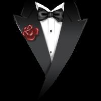 MIX - Tuxedo - Anzug Schwarz mit roter Blume und Fliege - RAHMENLOS Geburtstag Geschenk