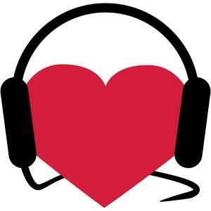 Herz mit Kopfhörern