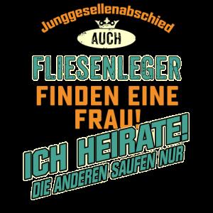 JGA BRAEUTIGAM - Fliesenleger - petrol strong orange - RAHMENLOS Berufe Geschenk