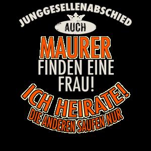 JGA BRAEUTIGAM - Maurer - Version Auch - roter Bogen - RAHMENLOS Berufe Geschenk