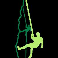 Kletterer beim Abseilen (2c)