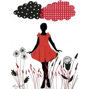 ragazza con abito rosso su prato stilizzato