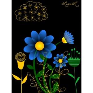 Fiori stilizzati gialli azzurri verdi con nuvola