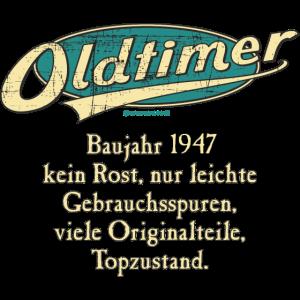 BD - Oldtimer Baujahr Jahrgang 1947 retro türkis Geburtstag RAHMENLOS Jahreszahl