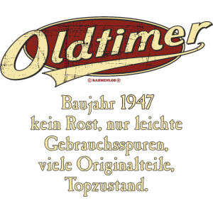 BD - Oldtimer Baujahr Jahrgang 1947 retro red Geburtstag RAHMENLOS Jahreszahl