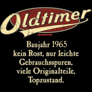 BD - Oldtimer Baujahr Jahrgang 1965 retro red Geburtstag RAHMENLOS Jahreszahl