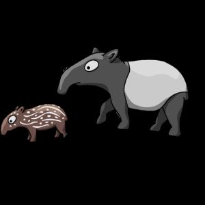 Tapir-Familie Baby und Mutter