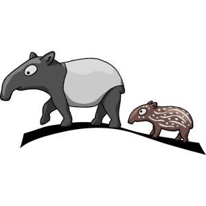 Tapir-Familie Mutter & Kind