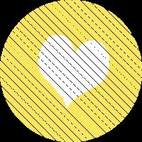 Gestreiftes Herz Gelb