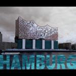 Elbphilharmonie mit Schriftzug HAMBURG