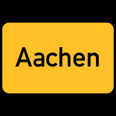 Aachen Ortstafel - Ortsschild der Stadt Aachen. - Zeichen,Stadt,Sign,Schild,Ortstafel,Ortschaft,Ort,Gelb,Eingang,Aachen