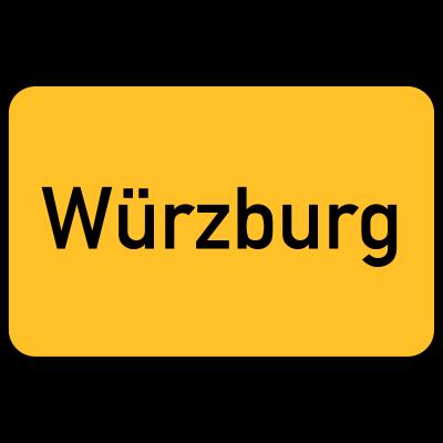 Würzburg Ortstafel - Ortsschild der Stadt Würzburg. - Zeichen,Stadt,Sign,Schild,Ortstafel,Ortschaft,Ort,Gelb,Eingang