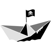 A paper boat with a pirate flag