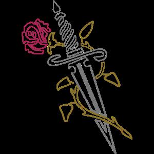 140. Rose mit Messer,Blumen,Love,Cool,Liebe