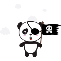 Pirate Panda mit Flagge