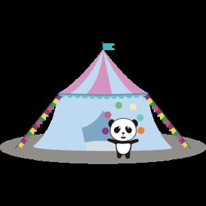 Panda im Zirkus Jonglage
