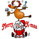 Reindeer dances on Santa