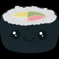 Lächelnde Sushi mit Gemüse