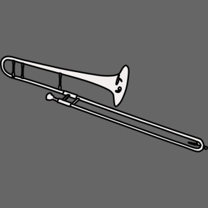 Silueta trombón en blanco