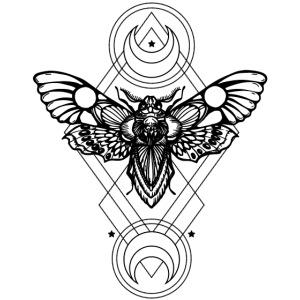 Geometrico Sfinge testa di morto rombo cerchio