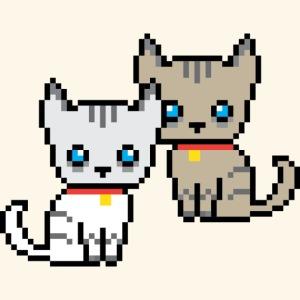 deux chats pixel