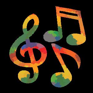 Farbige Musiknoten