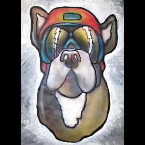 Bulldogge mit Sonnenbrille und Helm