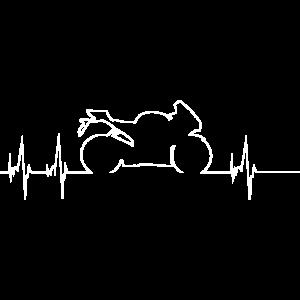 Motorrad Biker Herzschlag EKG Linie Bike T-Shirt