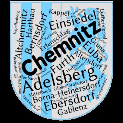 Chemnitz Ortsteile - Chemnitz und seine 40 Ortsteile auf einem Shirt!    - Siegmar,Sachsen,Ortsteile,Einsiedel,Deutschland,Chemnitz