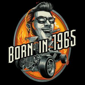 Born in 1965 - Geburtstag Jahreszahl - RAHMENLOS Large Hot Rod