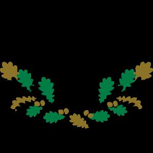 Hirsch Geweih Eiche Logo 3farbig