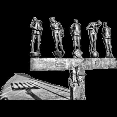 unzeitgemäße Zeitgenossen - Diese Grafik zeigt die Skulptur unzeitgemäße Zeitgenossen von Bernd Göbel, welche in der Grimmaischen Straße in Leipzig steht. Sie entstand 1986-1989. - eMKa28,grau,Schwarz-weiß,bildhauerei,kunst,stadt,city,bernd göbel,nackt,Nacktheit,Bronze,Skulptur,Sehenswürdigkeiten,Wahrzeichen,Deutschland,Heimatstadt,Neue bundesländer,Ostdeutschland,sachsen,sachs,Leipzig,unzeitgemäße Zeitgenossen