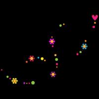 Ornament mit Blumen, Herz und Punkten