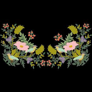 Muster mit Blumen-Pflanzenzweige und Vögeln