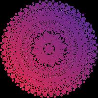 Mandala in rot-lila Tönen, handgezeichnet
