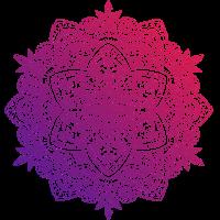 Mandala handgezeichnet, in den rot-lila Tönen