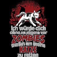 Katze vor Zombies