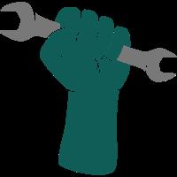 Faust mit Schraubenschlüssel