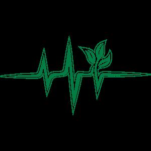 Vegan Heartbeat Frequenz, Puls, Herzschlag, Grün