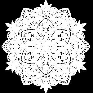 Mandala handgezeichnet in weiss