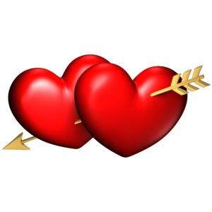 Deux coeurs avec une seule flèche