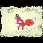 Hopsender Fuchs im Schnee