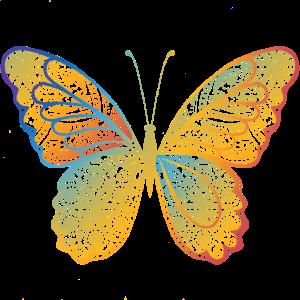 Schmetterling in regenbogefarben, handgezeichnet
