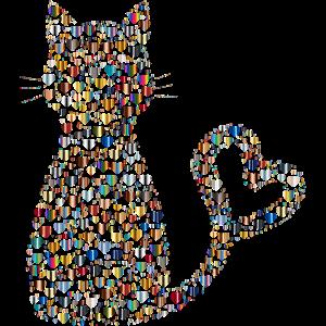 Katze Herzen Cat Geschenk Weihnachten sü0
